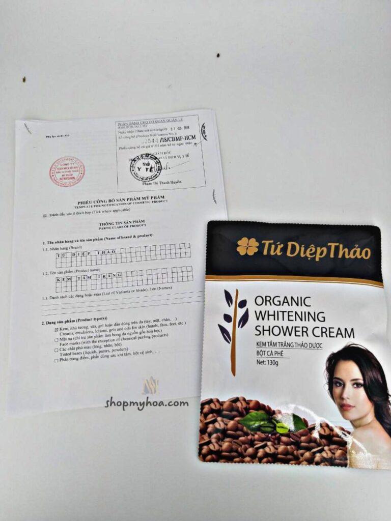 giấy chứng nhận tắm trắng cafe