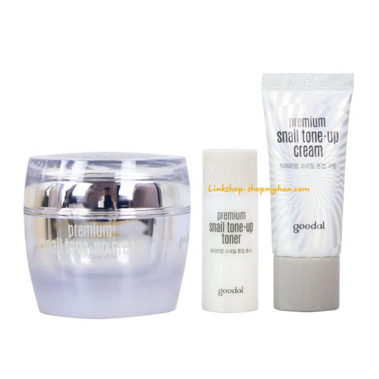 Set Dưỡng trắng da Ốc Sên Goodal Premium Snail Tone Up Cream