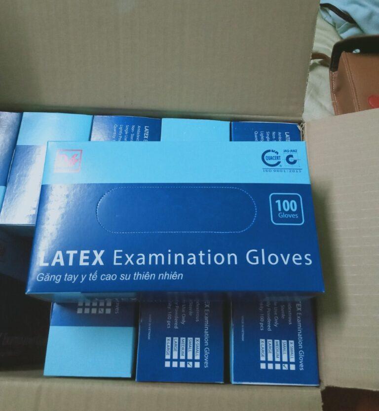 bao tay y tế có bột latex examination gloves